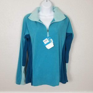 NWT Columbia Blue Colorblock Fleece Pullover Med